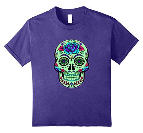 Kids Glow Effect Sugar Skull T-shirt - Halloween Skull Shirt 12 Purple