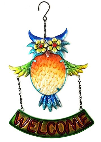 Colored Multi Beautiful (Bejeweled Display® Beautiful Multicolored Owl w/ Stained Glass Welcome Sign)