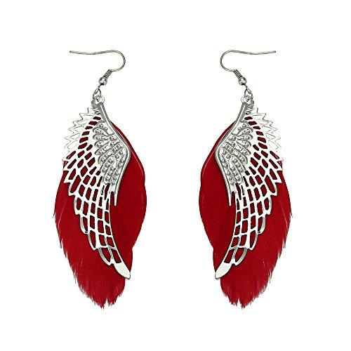 Sinfu Leather Earrings,Angel Metal Hollow Wing Bohemian Handmade Vintage Feather Long Drop Earrings for Women Girls (Red)