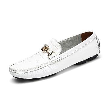 Mocasines y Slip-Ons de Cuero Genuino de los Hombres Zapatos de Barco de Primavera