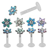 16 Gauge 5/16 Opal Flower Acrylic pin Internal Threaded Labret Cartilage Earrings (Violet)