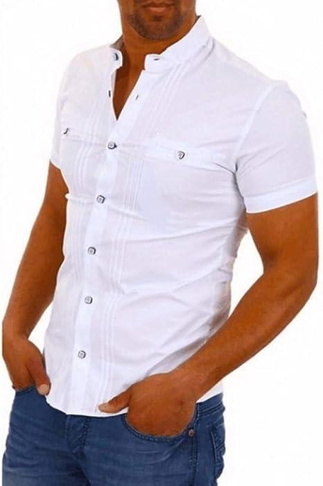 GFRBJK Hombres Camisa de Manga Corta Slim Fit Negro Camisa Blanca Soporte de Cuello Patchwork Camisa de Negocios Informal Hombres Verano , Blanco ,: Amazon.es: Deportes y aire libre