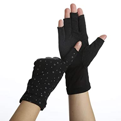Work Safety Equipment & Gear Safety Work Gloves Color : Beige, Size : L-Two Pairs Girls Sunscreen Gloves Open Toe Breathable Non-Slip Outdoor UPF 45 Sports Sunscreen Gloves