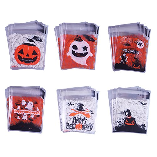 SMYLLS 120 Pcs Self Adhesive Candy Bag 6 Different Style - Cute Cookie Bags for Your Homemade Crafts (Halloween) -