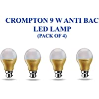 Crompton Anti Bacterial Bulb (Cool Day Light, 9 W, B22) with Envirosafe Technology - Pack of 4