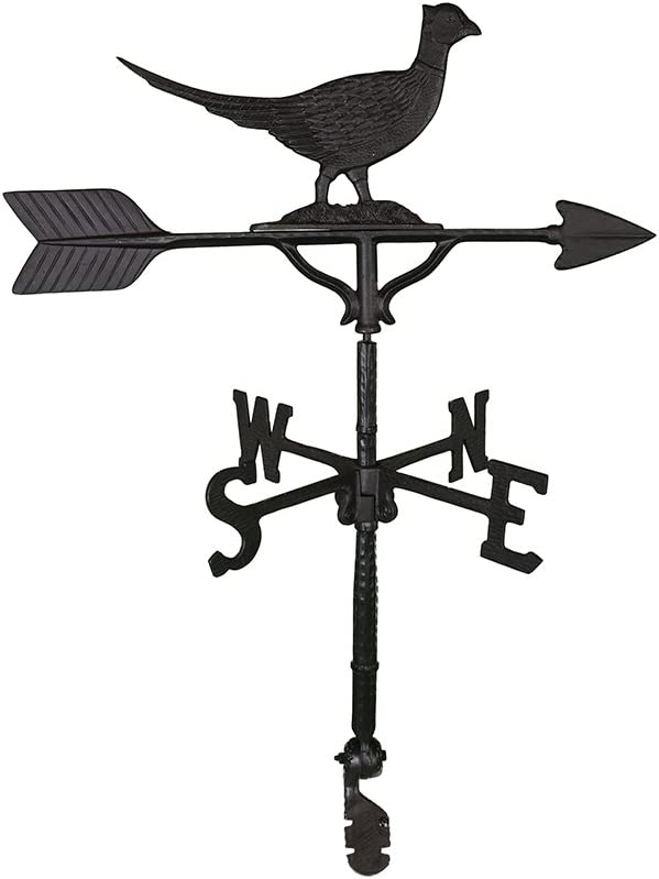 Montague Metal Products 32-Inch Weathervane with Satin Black Pheasant Ornament