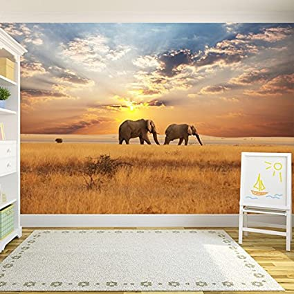 Amazoncom Elephants In Savannah African Safari Animal Wall Mural