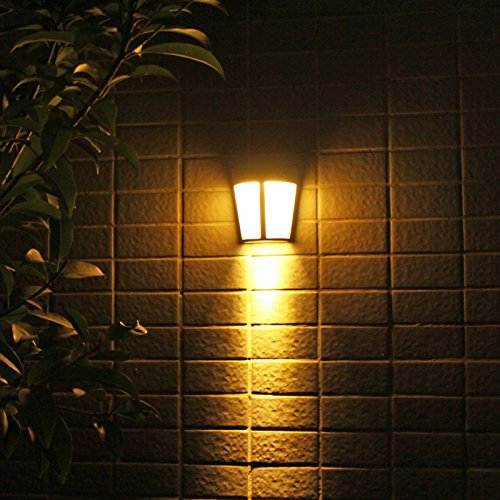 Zehui Wall Lights 6LED Solar-Powered Intelligent Motion Sensor Energy Saving Waterproof Lamps Wall Lights for Yard Garden Warm Light