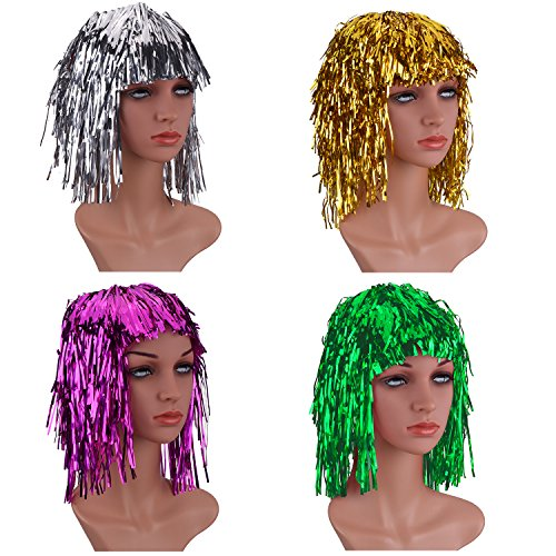 Sumind 4 Pieces Foil Tinsel Wigs Fancy Dress Shiny Party Wig Metallic Costume Cosplay Supplies (Gold - http://coolthings.us