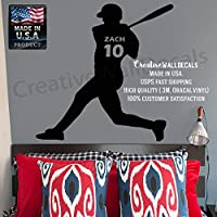 CreativeWallDecals Wall Decal Vinyl Sticker Decals Art Decor Design Baseball Player Custom Name Number Kids Children Game Sport Living Bedroom Nursery (r631)