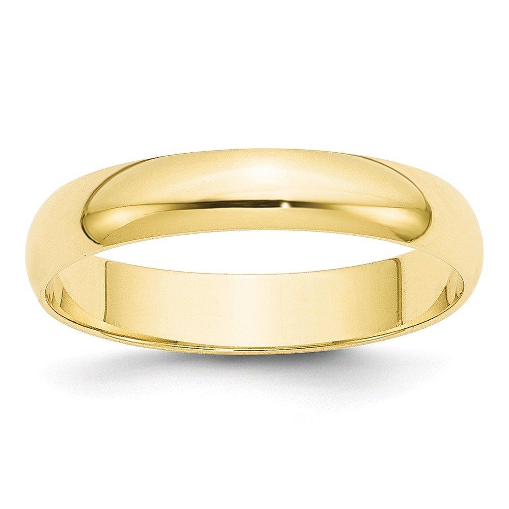 Brilliant Bijou 10k Yellow Gold 4mm LTW Half Round Mens Womens Wedding Anniversary Band