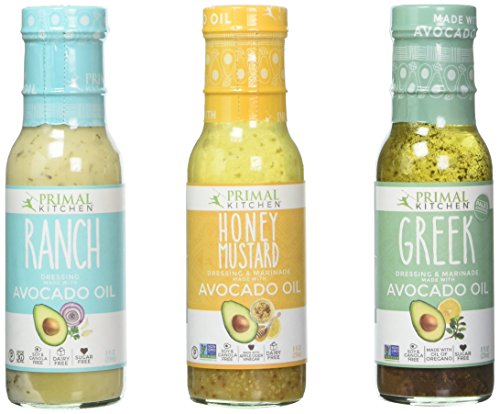 Primal Kitchen - Ranch, Greek and Honey Mustard Variety 3-Pack, Avocado Oil-Based Dressing, Whole30 and Paleo Approved (8 oz each) Vinegar Free Dressing