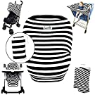 Stretchy Stripes 5-in-1 Baby Car Seat Canopy, Stroller Canopy, Shopping Cart Cover, High Chair Cover and Nursing Cover All-In-One Universal Fit in Black and White Stripes by Luvit