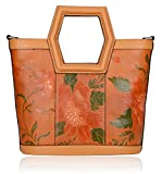 Pijushi Women's Ladies Genuine Leather Tote Purse Top Handle Shoulder Crossbody Handbags 170503(New Tan)