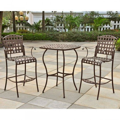 Santa Fe Iron Bar Bistro Set of Three (Matte Brown) (39
