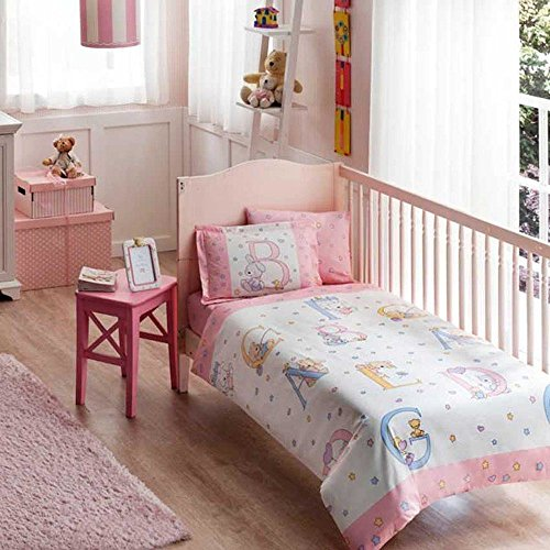 Baby Sweet Animals Pink Nursery Duvet Cover Set - 100% Cotton - 4 pieces Baby Sweet Animals Pink Boy's Themed Made in Turkey by cityof20