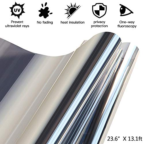 Window Film One Way Mirror Film Non-Adhesive Film Glass Window Cling Static Films No Glue Film Heat Control Anti UV Window Tint for Home and Office Black Silver (23.6 Inch -