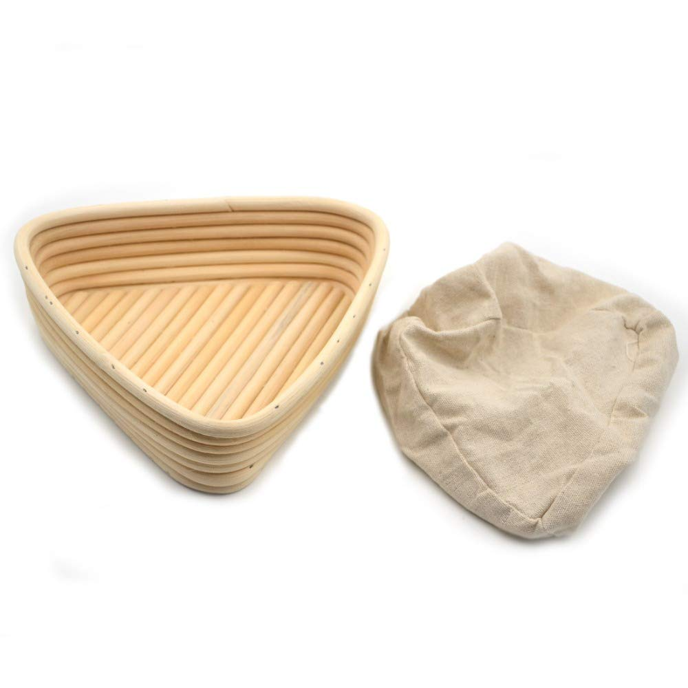 HOT- Baking & Pastry Tools - 1pc Triangel 23x23x8cm Banneton Bortform Rattan Basket Bread Dough Proofing Handmade Multi Storage - by Tini - 1 PCs by Chamomile.