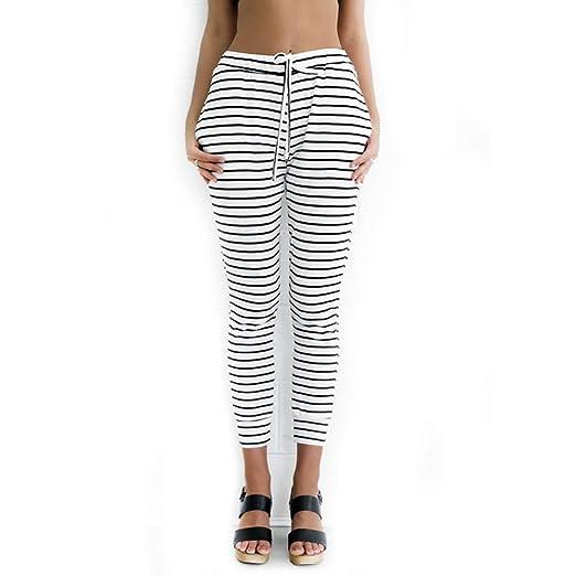 LXIANGP Pantalones de Mujer Pantalones de Rayas Pantalones ...