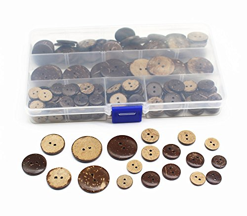 Meillia Assorted Coconut Buttons Variety Natural Coconut Shell Buttons for Sewing Crafts DIY Supplies