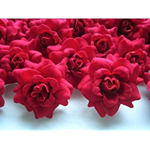 "(100) Silk Red Roses Flower Head - 1.75"" - Artificial Flowers Heads Fabric Floral Supplies Wholesale Lot for Wedding Flowers Accessories Make Bridal Hair Clips Headbands Dress 2"