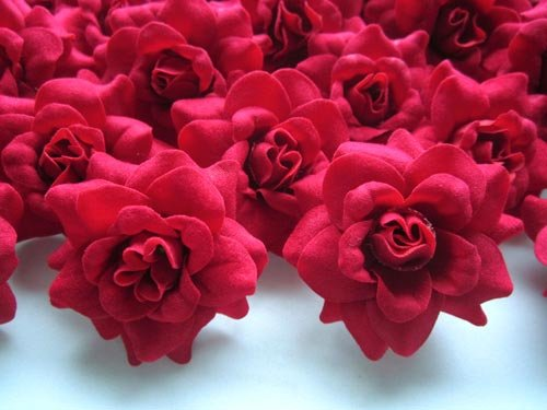 (24) Silk Red Roses Flower Head - 1.75 - Artificial Flowers Heads Fabric Floral Supplies Wholesale Lot for Wedding Flowers Accessories Make Bridal Hair Clips Headbands Dress