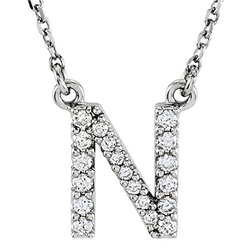 Dazzlingrock Collection 0.12 Carat (ctw) 14K Diamond Uppercase Letter N Initial Pendant (Gold Chain Included), White Gold