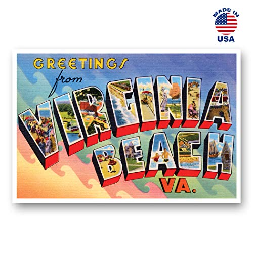 GREETINGS FROM VIRGINIA BEACH, VA vintage reprint postcard set of 20 identical postcards. Large Letter Virginia Beach, Virginia city name post card pack (ca. 1930's-1940's). Made in USA.