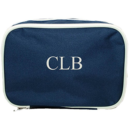 ue Beige Trim Double Compartment Cosmetic Bag Toiletry Bag (Double Compartment Travel Bag)