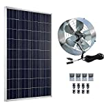 ECO-WORTHY Solar Power Attic Gable Fan - 100 Watts Polycrystalline Solar Panel Module - 65 Watts Ventilator Fan
