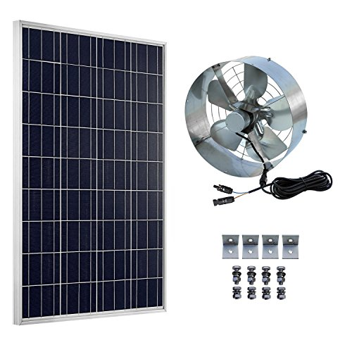ECO-WORTHY Solar Power Attic Gable Fan - 100 Watts Polycrystalline Solar Panel Module - 65 Watts Ventilator Fan by ECO-WORTHY