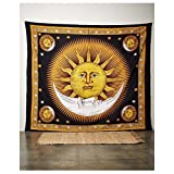 wanture Psychedelic Celestial Indian Sun Hippie Hippy Tapestry Wall Hanging Throw Tie Dye Boho Bohemian Hand-loomed Window Doorway Door Curtain Yellow M