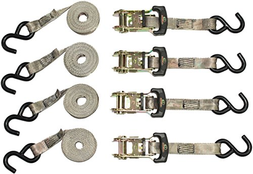 10' Tie Down Strap - Python SI-2071 Ratchet Tie Down Straps with 2500 lb Tension Strength, Mossy Oak Camo (4 Pack)