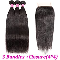 """Brazilian Straight Hair With Closure 3 Bundles Unprocessed Virgin Human Hair Bundles With Lace Closure Free Part Hair Extensions Natural Color (10 12 14+10"""" closure)"""