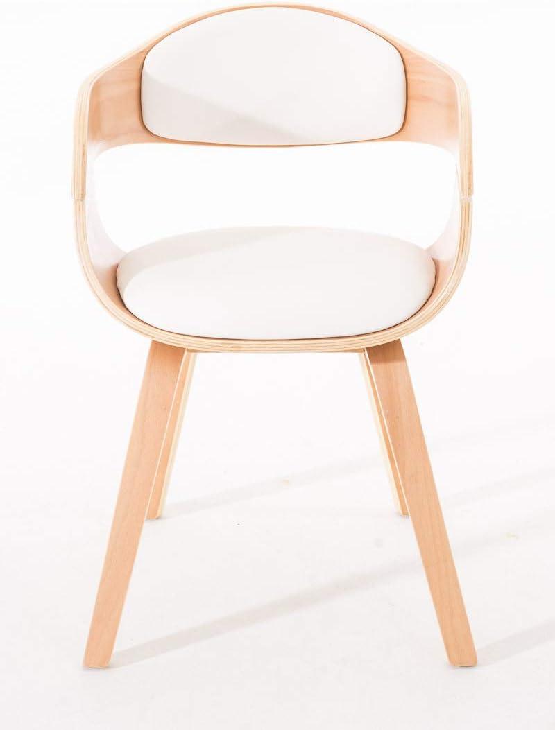 Chaise de Salle /à Manger avec Accoudoirs Design Scandinave Couleur Nature//Blanc Si/ège et Dossier Rembourr/és CLP Chaise Retro Kingston Similicuir