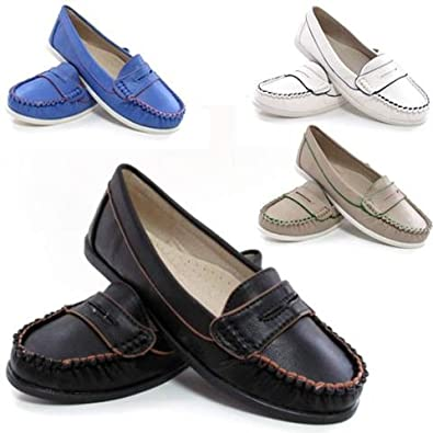 809a55db436 STAR DISTRIBUTORS Ladies Leather Shoes Womens Comfort Casual Walking  Leather Lined Moccasin Loafers Driving Shoes (