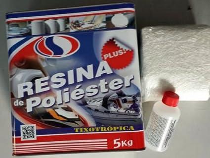 Plainsur - Kit De Reparacion Resina De Poliester 5 kg. Mas Fibra De Vidrio