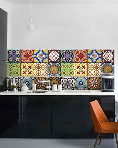 Kitchen Art Malaysia: With MK Tile Stickers 24 PC Set Traditional Talavera Tiles