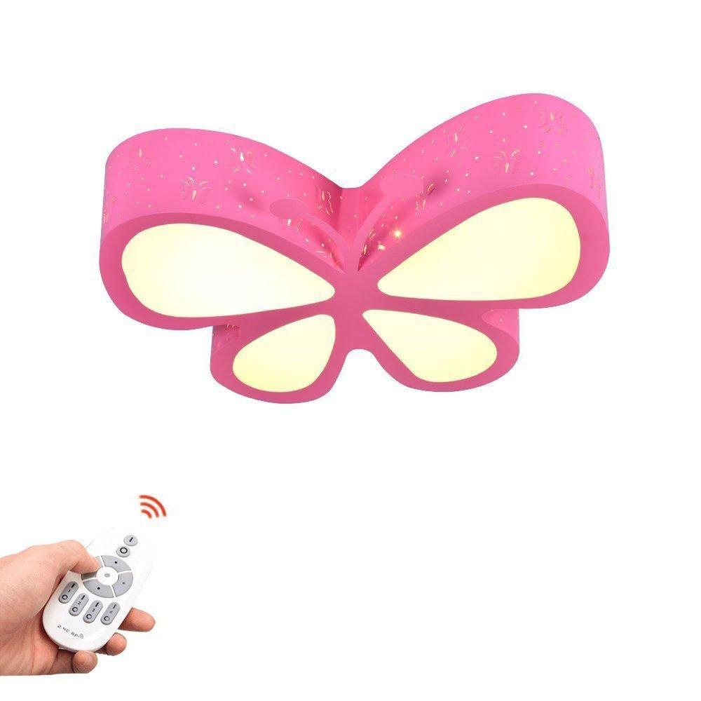 Deckenleuchten Rosa Schmetterling Mädchen Led Dimmbar Mit Fernbedienung Schlafzimmer Lampe Baby Leuchte Deckenlampe Für Kinderzimmer Babylampe Kinderlampe Kinderleuchte Kinderzimmerlampe (Dimmbar) GMWSM