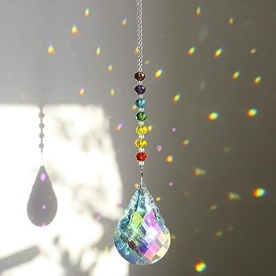 H&D HYALINE & DORA Chakra Crystal Suncatcher Hanging Window Ornament with 76mm Gourd Prism : Garden & Outdoor