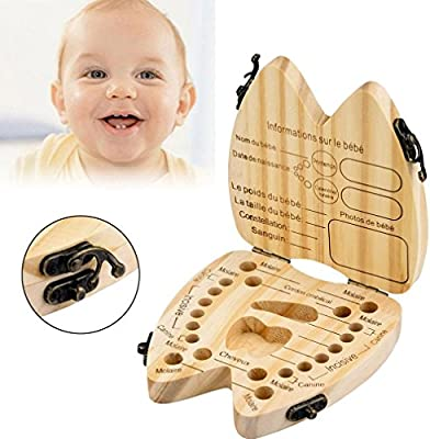 Khaki, 12cm FTXJ Baby Boy Teeth Box Milk Teeth Wood Case Storage Keepsake Organizer Deciduous Souvenir