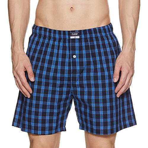 Ajile By Pantaloons Men's Knee high Checkered Boxers (110059273_Royal Blue_Medium)