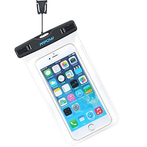 Funda Impermeable Movíl, Mpow Funda Impermeable Transparente para 7 7s 6s 6 5s Huawei P8 Lite Bq aquaris x5 Xiaomi, IPX8 Certificado Impermeable Transparente, Funda Playa para Movíl Universal