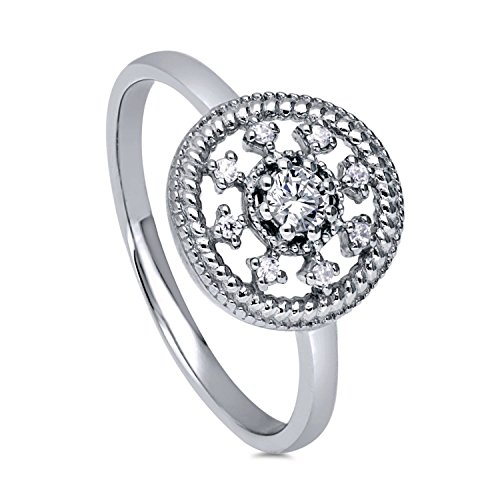 BERRICLE Rhodium Plated Sterling Silver Cubic Zirconia CZ Art Deco Medallion Fashion Ring Size 7 (Art Deco Silver Ring)