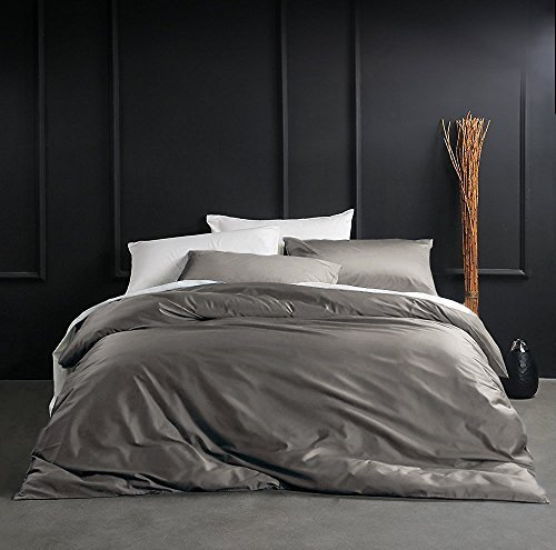 Eikei Solid Color Egyptian Cotton Duvet Cover Luxury Bedding Set High Thread Count Long Staple Sateen Weave Silky Soft Breathable Pima Quality Bed Linen (King, Taupe Grey) - Brass King Size Bed