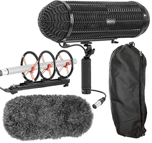 (Movo BWS1000 Blimp Wind & Vibration Protection System for Shotgun Microphones - Features 12-point Internal Shockmount, Integrated XLR Cable, Furry Deadcat Windscreen & Grip Handle with Boom Attachment)