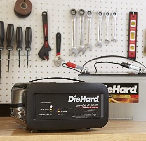 DieHard 71323 Shelf Smart Battery Charger Engine Starter 12 Volt 2 6A Charge 10A Boost 50A