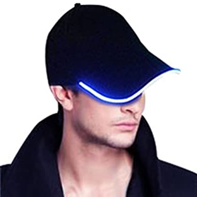 baseball cap with led lights wholesale light up glow rechargeable blue in brim uk caps built