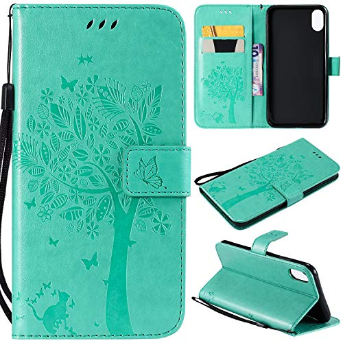 Flip Wallet Case for iPhone Xs Max,Gostyle iPhone Xs Max PU Leather Green Case Embossed Tree Butterfly Flower Pattern,Bookstyle with Card Slots Magnetic Closure Stand Cover
