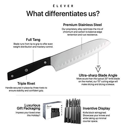 Elever Knife Set - Kitchen Knife Set with Block, 13 Kitchen Knives with Knife Sharpener, Chef Knife, Kitchen Scissors, Steak Knives. Modern Knives Kitchen Set, House Kitchen Decor, Cutlery Set Gift by Elever (Image #3)